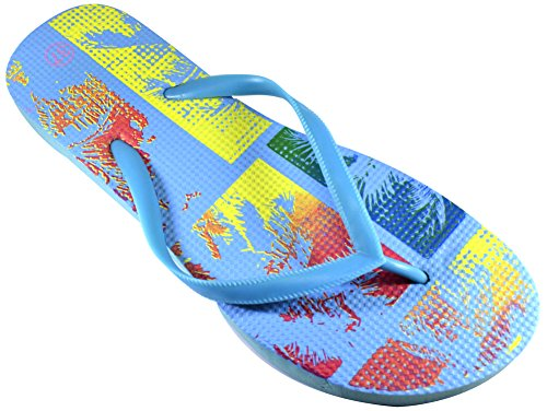 Octave , Damen Zehentrenner Gr. Ladies Shoe Size: UK 4 / EURO 37, Tropical Design - Light Blue