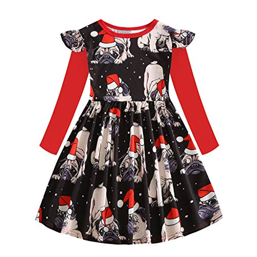 XINAINI Baby MäDchen Kleid Babykleider Langarm Blumig Süß Kleid Kleidung Weihnachtskleid Elegant Party Kleid Tutu Urlaub Prinzessin Kleid 3D Drucken Tops Rock Mini Kleid(130/5-6 Jahre Alt,rot) -