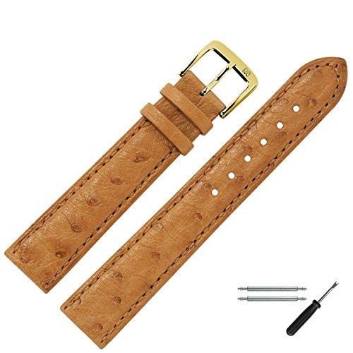 MARBURGER Uhrenarmband 18mm Leder Braun Strauß - Uhrband Set 8101834000220 (Strauß Natürliche)