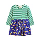 Kind Mädchen, Baumwolle Langarm T-shirt Kleid mit Gestreifte Sterne Prinzessin KleidungCrewneck Festliches Mädchen Kleider/5T