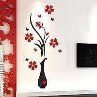 Tongshi Decoración del hogar de la etiqueta de las etiquetas engomadas de la pared del acrílico 3D del árbol de la flor del florero de DIY