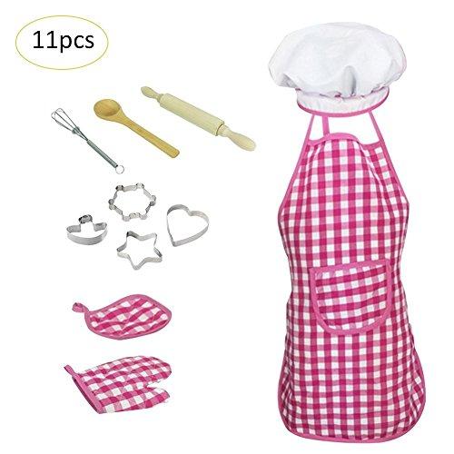 (Purebesi 11 Stück Kinder Kochen und Backen Set - Schürze für kleine Mädchen, Kochmütze, Mitt & Utensil für Kleinkind Dress Up Chefkostüm Karriere Rolle Spiel)