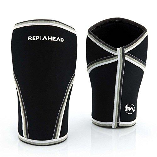REP AHEAD® Kniebandage (1 Paar, 7 mm) Knee Sleeves 2.0 für Fitness, Crossfit, Gym - Kniebandagen Set für Männer und Damen - Sport Knie Bandagen ALS Knieschoner - Bodybuilding Bandage Krafttraining