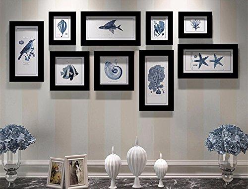 Krishnarts Photo Frame Wall Collage Set Of 9 Pcs ( 3 Units Of 6X4, 2 Units Of 6X6, 4 Unit Of 5X10) Black