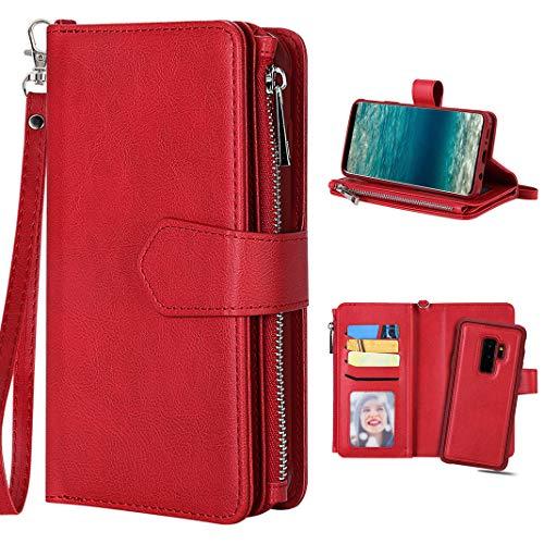 Galaxy S9 Plus Lederhülle Rot, Galaxy S9 Plus Hülle Tasche, Purple Angel Magnet Leder Flip Case Abnehmbar Geldbörse Handtasche Kartenfach Book Cover im Ständer Handyhülle Schutzhülle Schale Etui (- Geldbeutel-handy-fällen, Samsung)