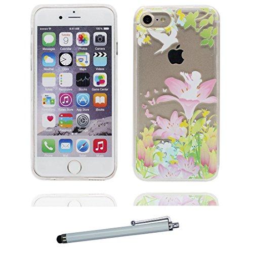 """iPhone 6 Plus Coque, iPhone 6s Plus étui Cover 5.5 pouces, Bling Bling Glitter Fluide Liquide Sparkles Sables - Flamant, iPhone 6 Plus Case 5.5"""", Shell anti- chocs (Flamant) & stylet Lis"""