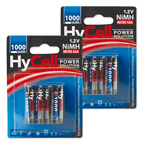 HyCell wiederaufladbar Akku Batterie Micro AAA 1000mAh NiMH ohne Memory-Effekt 8er Pack Photo Fotoakku Digitalkamera Spielzeug-Akku