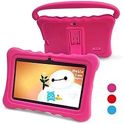 Tablet para Niños Pad para Niños - 7 pulgadas Tablet para niños con sistema operativo Google Android 6.0 y Caso de Silicon,aplicaciones iWavaHome y AR Zoo ya instaladas,Pantalla IPS,ROM de 8(rosa)