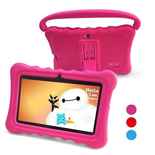 Tablet para Niños Pad para Niños   7 pulgadas Tablet para niños con sistema operativo Google Android 6.0 y Caso de Silicon,aplicaciones iWavaHome y AR Zoo ya instaladas,Pantalla IPS,ROM de 8(rosa)