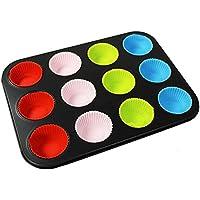 COM-FOUR® Lattina per muffin in acciaio al carbonio con 12 stampi colorati in silicone, 35 x 26,5 cm