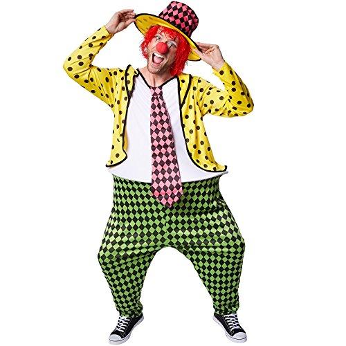 TecTake dressforfun Herrenkostüm Clown | Kostüm + Clown-Nase und Hut | Clown-Kostüm Fasching (XL | Nr. 300790)