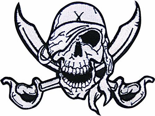 Patch: Piraten-Schädel - Queen of (Piraten Shirt Kostüme Weißen Erwachsenen)