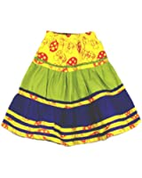 GIRLS LONG BOHO STYLE SKIRT WITH MUSHROOM PRINT DESIGN AND FUNKY STRIPES