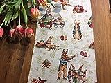 Herrlicher Tischläufer, Gobelin mit Osterhasen, ca. 40x140 cm, von Provencestoffe