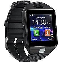 Reloj Inteligente, CulturesIn Pulsera con Pantalla Táctil Bluetooth con Cámara/Ranura para Tarjeta SIM/Análisis de Podómetro para Android (Funciones Completas) y para IOS (Funciones Parciales) (gun black)