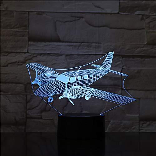Nueva lámpara 3D Fthing Air Plane Nightlight Mood Lamp 7 Cambio de color Luz Aviones Lámpara de mesa Regalos de cumpleaños Juguetes Niños Luces de la noche ## 6
