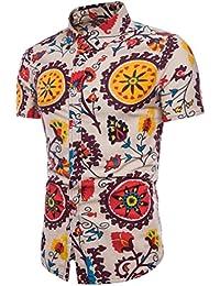 QinMM Camisa Floral Boho del Verano del Hombre, Blusa Básica de Lino Tamaño Grande de Playa