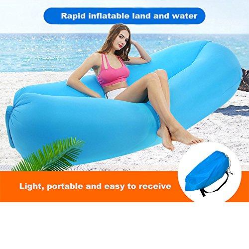 Inflate Portable Lazy Lounger Schlafsack, Outdoor Indoor Air Schlaf Sofa Laybag Couch Bett, Nylon wasserdicht zusammenklappbar, Sitzsack zum Faulenzen, Sommer Camping, Strand, Angeln (blau)