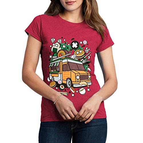 C572WCNTAH Damen T-Shirt Japanese Van Food Japan Cuisine Rice Noodles Sake Soy Sauce Chopsticks Sushi Sashimi Bento Miso Soup(Medium,Antique Heliconia) Bento-sauce