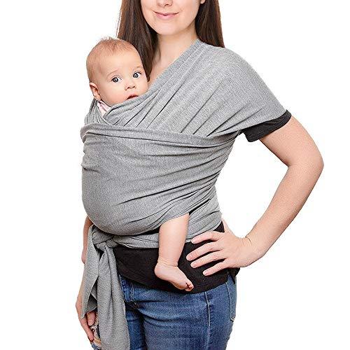 Babytragetuch, Baumwolle Tragetuch Baby Carrier Sling Elastisches Tragetuch für Neugeborene Kleinkinder Kinder Tragetuch Hochwertig Babybauchtrage, Hellgrau