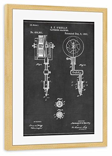 artboxONE Poster mit Rahmen Kiefer 75x50 cm Tattoomaschine Blaupause von Artkuu - gerahmtes Poster (Kiefer Rocker)
