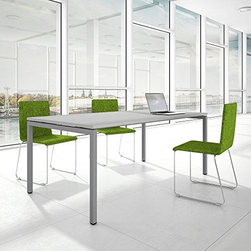 PROFI Besprechungstisch 200x100cm NOVA U 4-8 Pers. Konferenztisch Meetingtisch , Gestellfarbe:Silber