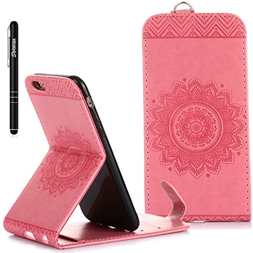 iPhone 6S Custodia Flip,iPhone 6S Custodia in Pelle,Slynmax Stampato Copertura di Ccuoio Folio Cover in PU Dipinto Sintetica Ecopelle Guscio Wallet Case per Apple iPhone 6/6S 4.7 Protezione Caso Ultr Rosa