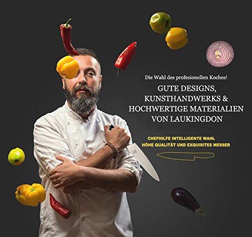 Allezola 21cm Profesional Cuchillo de Cocinero  Cuchillo de Cocina Acero al Carbono Inoxidable de Alta Calidad Alemán
