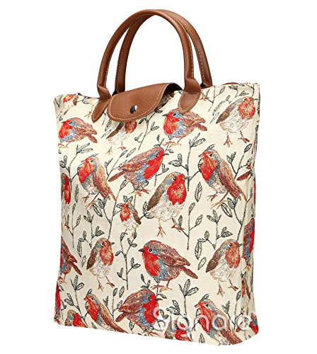 Borsa donna Signare in tessuto stile arazzo Pieghevoli Shopping alla moda Westie Pettirosso