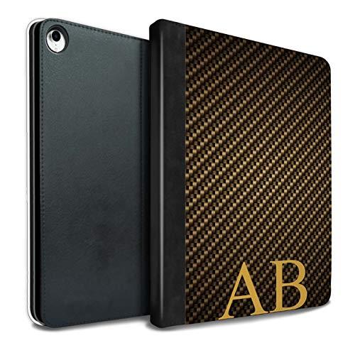 eSwish Personalisiert Kohlenstoff-Faser Muster PU-Leder Hülle für iPad Pro 10.5 (2017) / Gold Monogramm Design/Initiale/Name/Text Tablet Schutzhülle/Tasche/Etui (Kohlenstoff-faser-buchstaben)