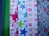 10 SHEETS OF MALE, FEMALE WRAPPING PAPER - BUTTERFLY, BUTTERFLIES, PRESENT, STAR, STRIPES (2 sheets each of 5 designs)