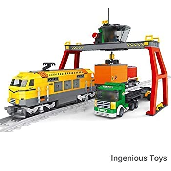 Ingenious Toys Ausini Train Set Cargo Freight Blue Train 2 Cargo Cars Truck and 10pcs Tracks #25111