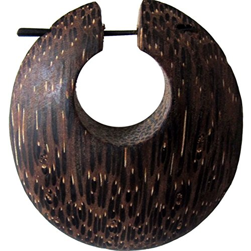 Holz Pin Creolen 48mm Horn-Pin Ohrringe Olivenholz Kokosnuss Handarbeit rund oval | dicke Holzohrringe Damen Herren Kante | Tribal Ohrschmuck groß Frauen Männer Lobe Piercing Maserung Kokosnuss