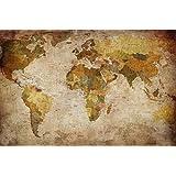 Fotomurale mappamondo poster gigante - marrone planisfero XXL foto wallpaper - 210cm x 140cm