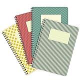 etmamu 504 4er-Pack Notizblöcke Farbige Muster A5, 60 Blatt blanko