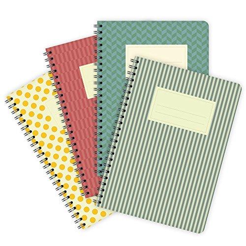 Etmamu 504-Taccuino, formato A5, 60fogli, a righe, 4pezzi, motivo: colori assortiti