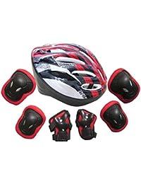 7pcs adultos autobalanceo bici Roller rodilla juegos de pastillas Codo Muñeca Casco (Rojo)