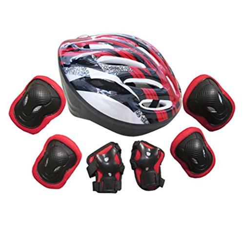 7pcs-adultos-autobalanceo-bici-roller-rodilla-juegos-de-pastillas-codo-muneca-casco-rojo