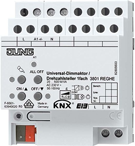 Preisvergleich Produktbild Jung KNX Universal-Dimmaktor/Drehzahlsteller 1-fach 3901REGHE