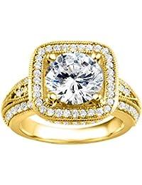 Silvernshine 2.19 Carat White Cubic Zirconia Diamond 14k Yellow Gold Plated Wedding Engagement Ring