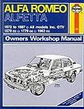 Alfa Romeo Alfetta All Models 1973-87 Owner's Workshop Manual (Service & repair manuals)