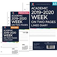 NBplanner® Academic 2019–2020 Week on Two Pages Lined Diary Organiser Refill Planner Insert Filofax Compatible (A5: 148 x 210mm)