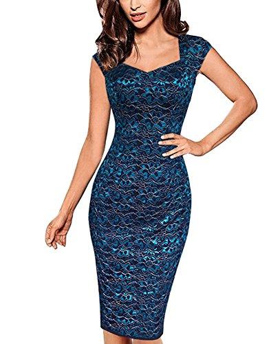 Women Vintage Lace Floral Print Knee Length Bodycon Pencil Dress Retro Cocktail Party Dresses Blue L