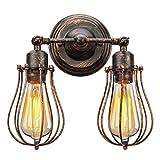 KINGSO Wandlampe Retro E27 Vintage Wandleuchte Antik Deckenlampe, Rustikal Deckenleuchte Verstellbar Metall Industrielampe Lampenschirm schwenkbar für Schlafzimmer Esstisch (Ohne Leuchtmittel)