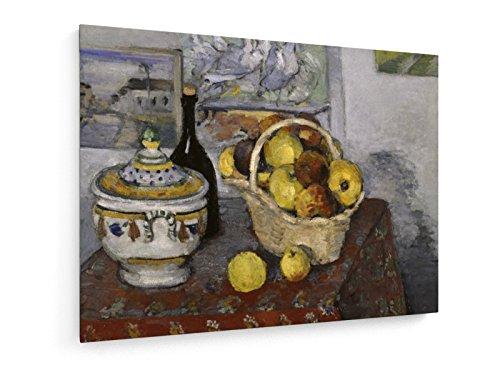 Paul Cezanne, Stilleben mit Suppenschüssel - 60x45 cm - Textil-Leinwandbild auf Keilrahmen - Wand-Bild - Kunst, Gemälde, Foto, Bild auf Leinwand - Alte Meister/Museum (Kunst Foto Leinwand)