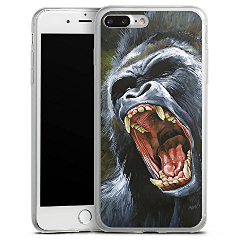 Apple iPhone 8 Plus Slim Case Silikon Hülle Schutzhülle Gorilla Affe dschungel Silikon Slim Case transparent