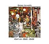 Social Crazy Stampa in Tela Canvas 100% qualità Italia - Guttuso - La vucciria Effetto Dipinto Idea Regalo Casa Quadro Cucina Stanza da Letto Soggiorno (80x82)