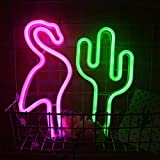 LED Hanging Neon Pink Flamingo et Green Cactus Neon Combinaison Enseignes lumineuses à piles/USB Powered Neon Light Nuit Pour Chambre Décoration Mariage Noël Birthday Party Bar