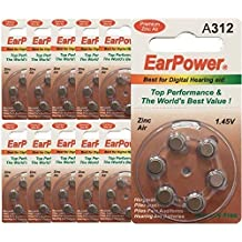 60 Pilas para audífonos EarPower 312 (paquete de 10 baterías de 6 celdas) /