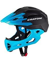 Cratoni C-Maniac Casco de bicicleta Casco integrales y BMX Freeride, Negro-Azul (S-M (52-56 cm))